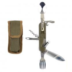 Nůž skládací multifunkční s příborem a světlem